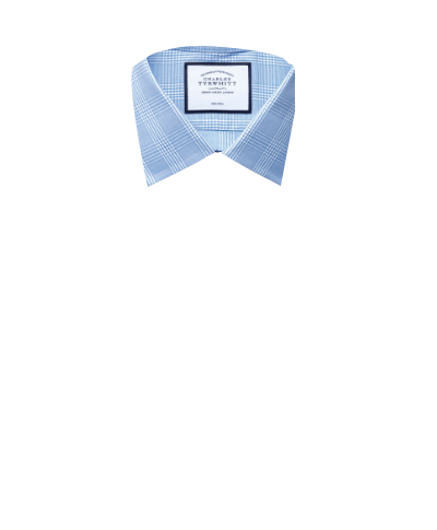 Classic fit non-iron Prince of Wales sky blue shirt
