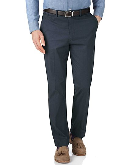 Navy and blue slim fit puppytooth trousers