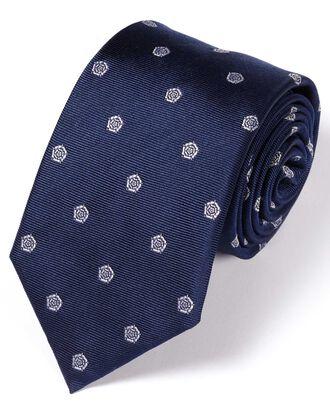 Cravate classique bleu marine et blanche en soie à motif rose anglaise