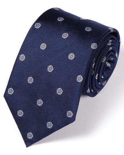Klassische Seidenkrawatte in Marineblau und Weiß mit Englisch Rose-Muster