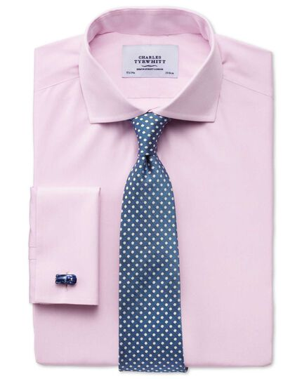Extra slim fit cutaway collar end-on-end pink shirt