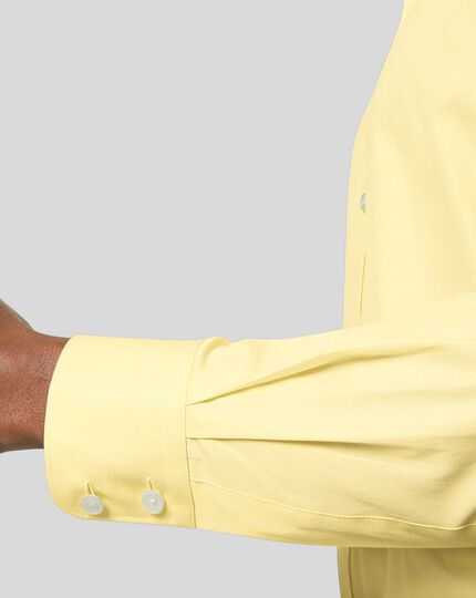 Semi-Cutaway Collar Egyptian Cotton Poplin Shirt - Yellow