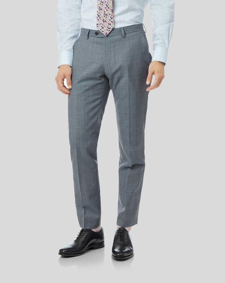 Wool Linen Check Suit Pants - Sky Blue