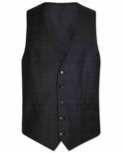 Grey slim fit birdseye travel suit vest