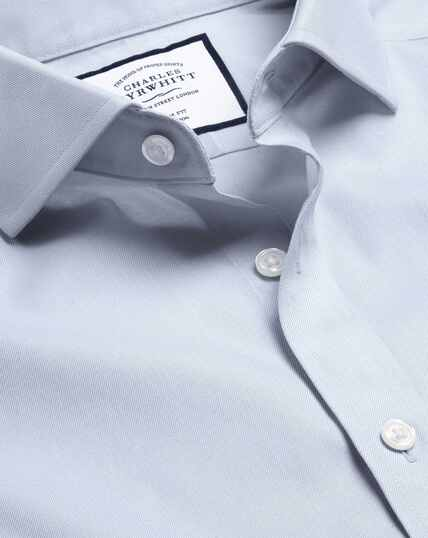 Spread Collar Non-Iron Twill Shirt - Grey
