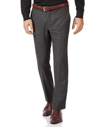 Charcoal slim fit wool flannel pants