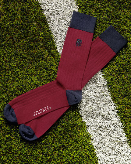 England Rugby Cotton Rib Socks - Red
