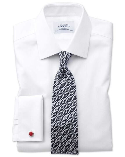 Classic fit non-iron square weave white shirt
