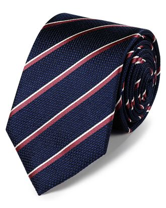 Navy and coral silk traditional stripe classic tie