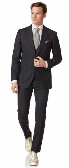 Charcoal slim fit birdseye travel suit