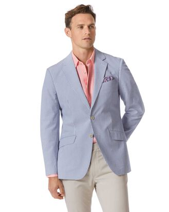 Slim fit blue striped cotton seersucker jacket