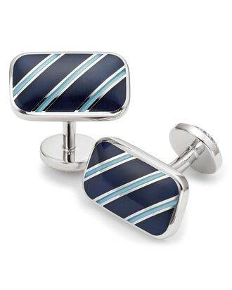 Navy and blue enamel stripe rectangle cufflinks