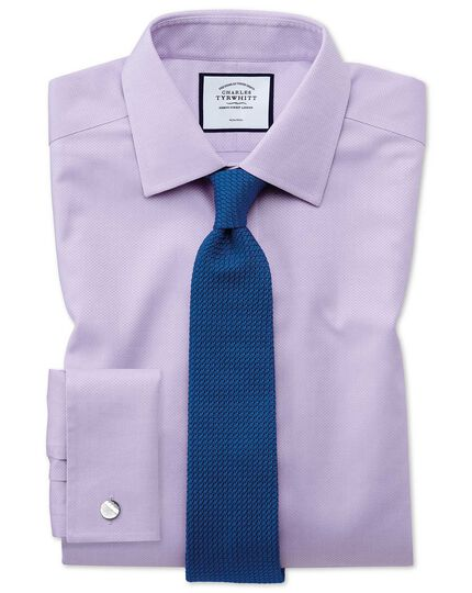 Classic fit non-iron lilac triangle weave shirt