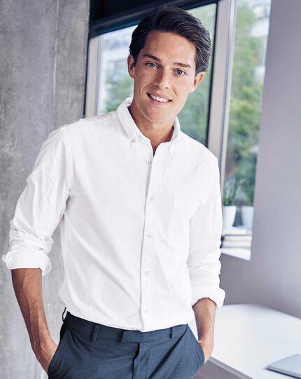 Slim fit white button-down washed Oxford plain shirt