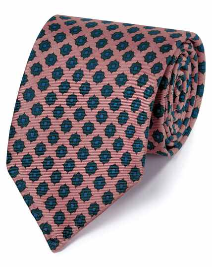 Pink and navy motif printed luxury English hand rolled silk tie
