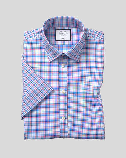 Classic Collar Non-Iron Tyrwhitt Cool Poplin Short Sleeve Check Shirt - Blue & Pink