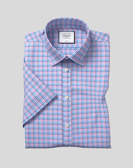 Classic Collar Non-Iron Tyrwhitt Cool Poplin Short Sleeve Check Shirt - Blue & Pink
