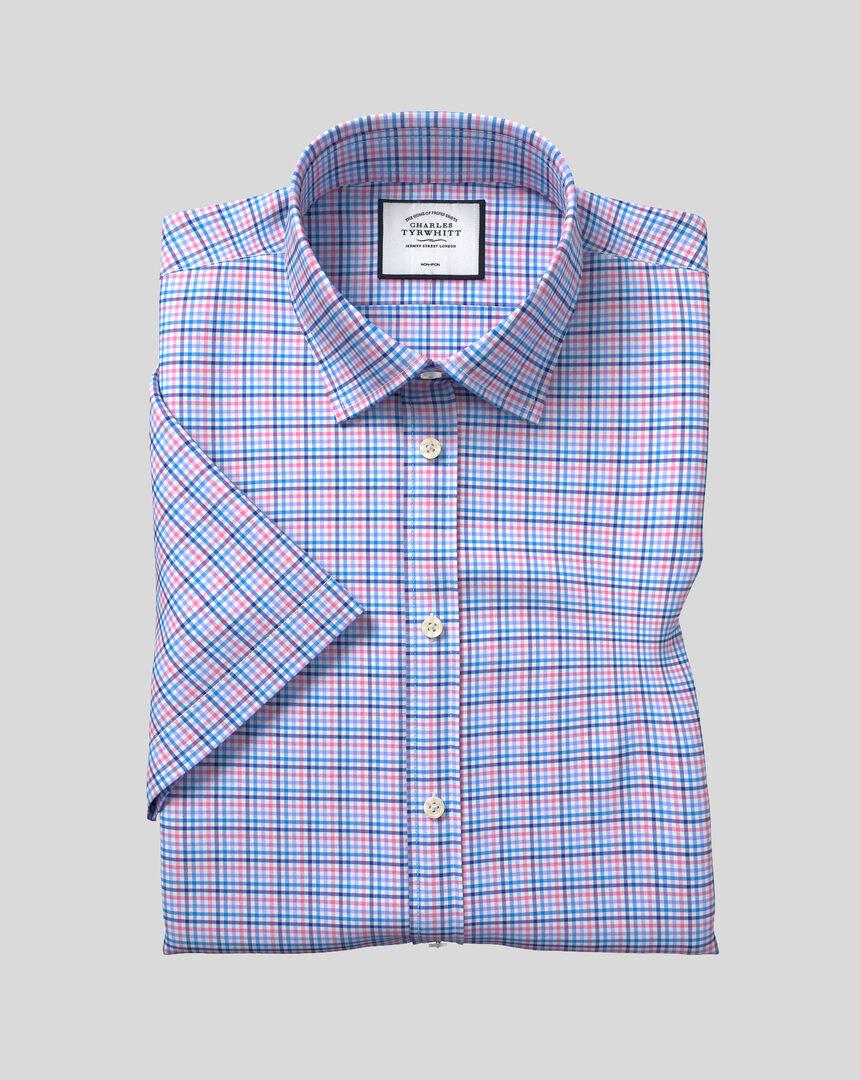 Bügelfreies Tyrwhitt Cool Popeline-Kurzarmhemd mit Kent Kragen und Karos - Blau & Rosa