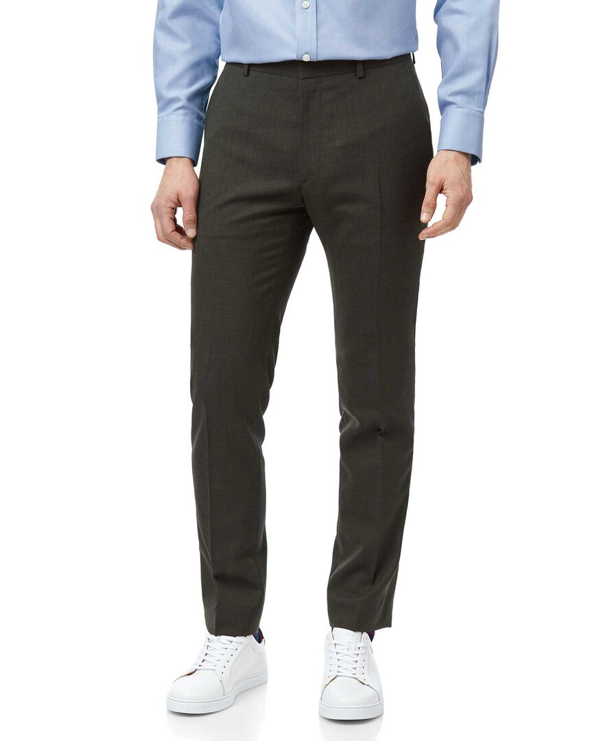 Green extra slim fit merino business suit trousers