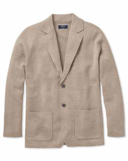 Stone merino wool blazer