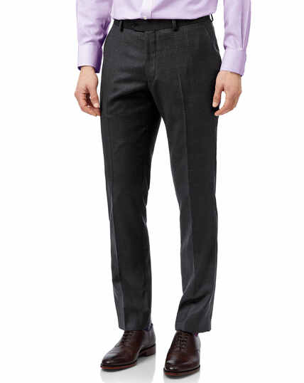 Grey check slim fit birdseye travel suit trousers