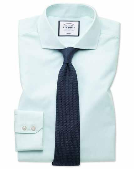 Slim fit non-iron Tyrwhitt Cool poplin aqua stripe shirt