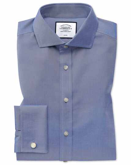 Extra slim fit mid-blue non-iron twill cutaway collar shirt
