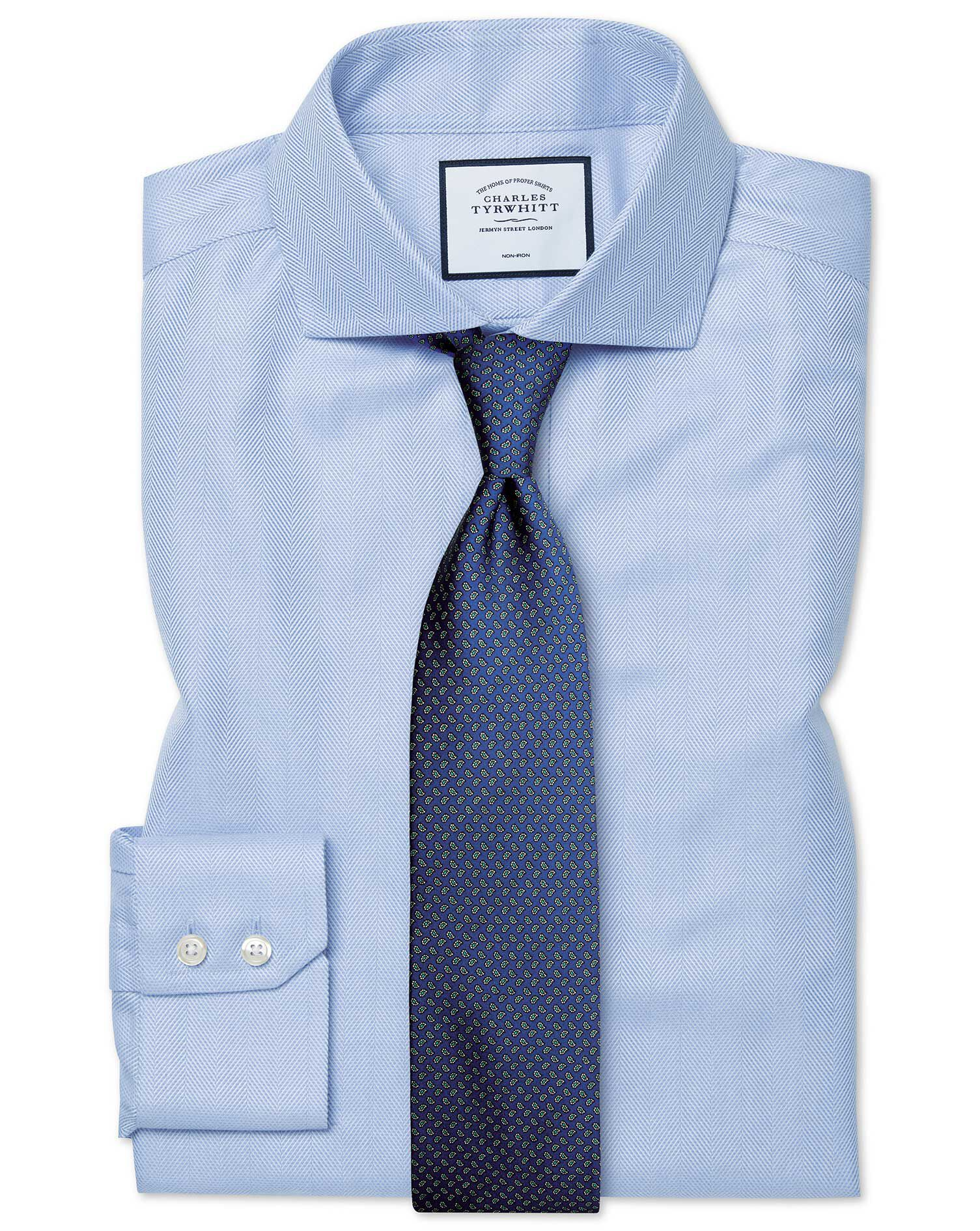 Dress Shirts Impartial Classic Fit Blue Herringbone Plaid French Cuff Cotton Dress Shirt