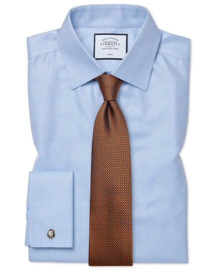 Classic fit non-iron sky blue herringbone shirt