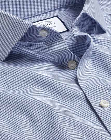 Cutaway Collar Non-Iron 4 Way Stretch Check Shirt - Navy