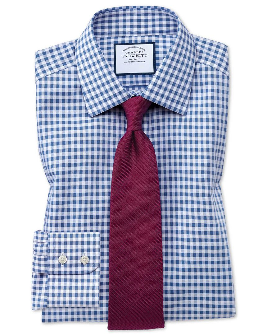 Slim fit non-iron gingham mid blue shirt