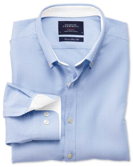 Extra slim fit sky blue washed Oxford shirt