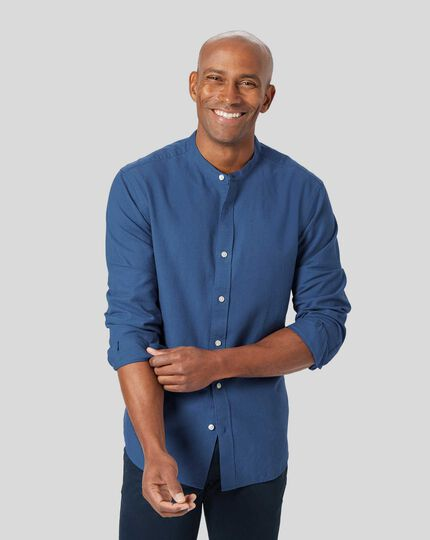 Collarless Cotton Linen Shirt - Blue