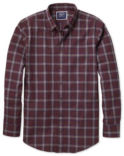 Gesprenkeltes Classic Fit Hemd mit Fischgrätmuster und Karos in Burgunderrot und Blau