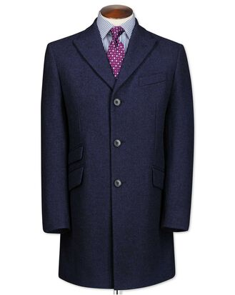 Navy check wool Epsom overcoat
