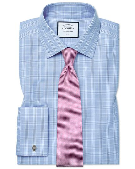 Classic fit non-iron sky blue Prince of Wales check shirt