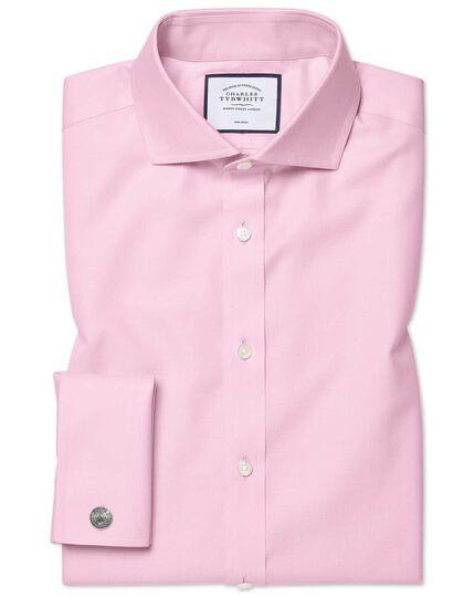 Extra slim fit cutaway pink non-iron twill shirt