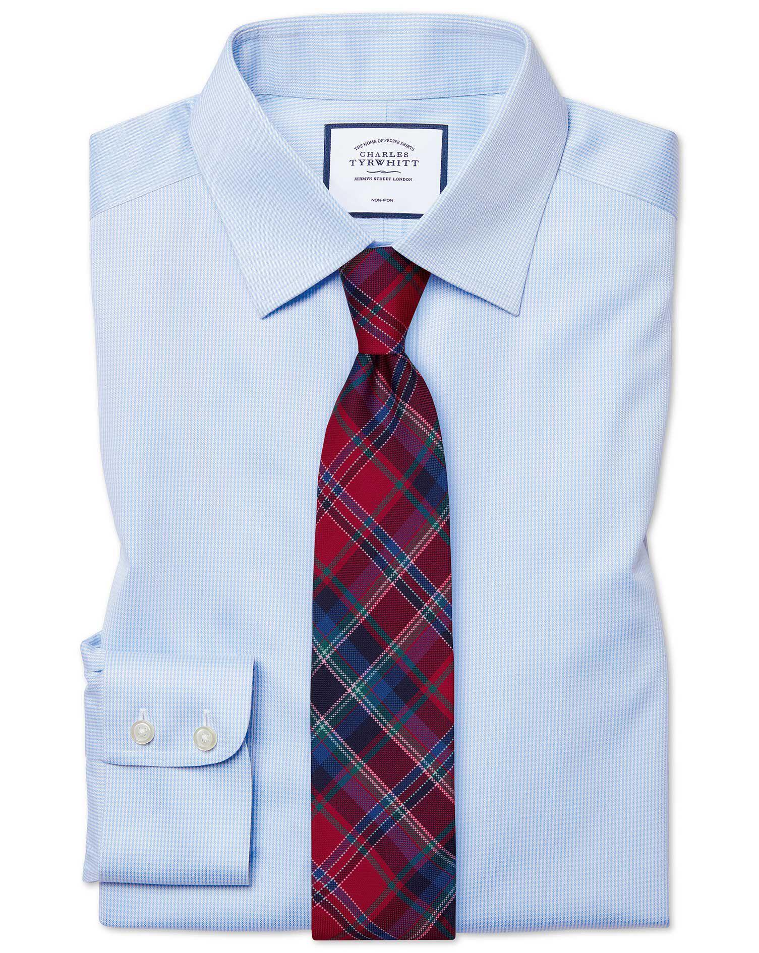 Pasvorm Pied De HemelsblauwStrijkvrij Poule Overhemd Met Slanke OXZPkiuT