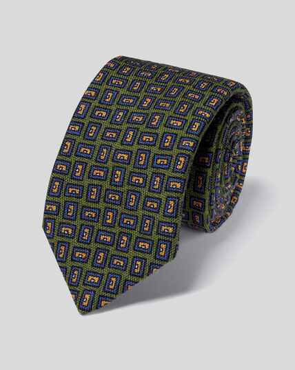Geometric Print Italian Wool Luxury Tie - Olive & Blue