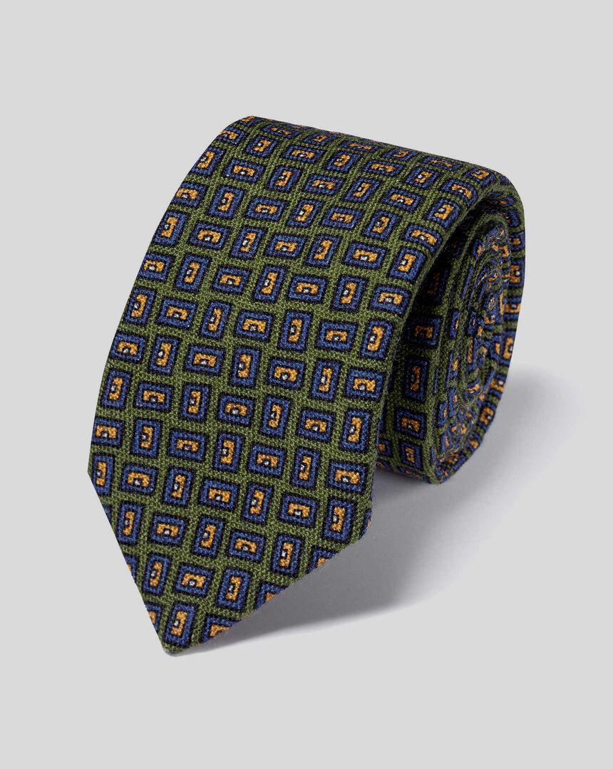 Italienische Luxuskrawatte aus Wolle mit geometrischem Design - Olivgrün & Blau