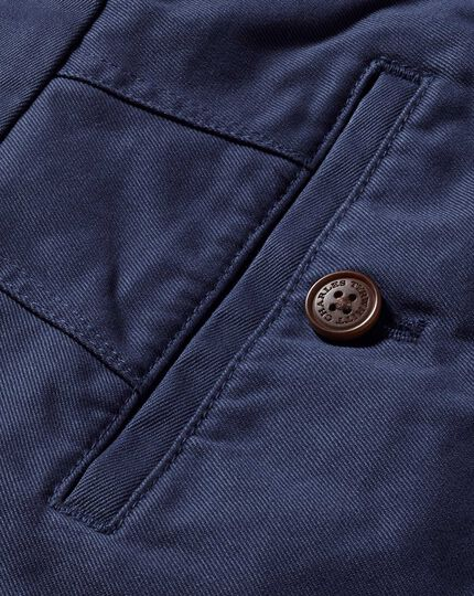 Airforce blue slim fit flat front chinos