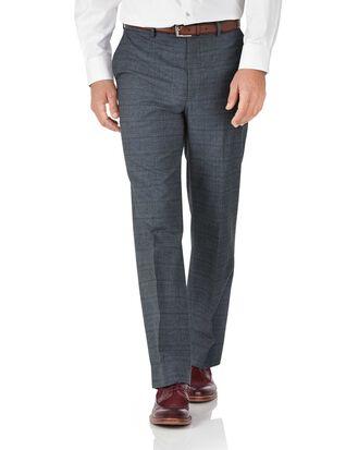 Pantalon bleu coupe droite en flanelle de coton à carreaux