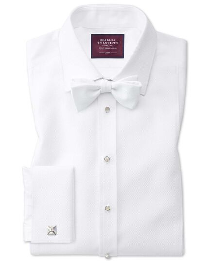 Extra slim fit luxury Marcella bib front white tuxedo shirt