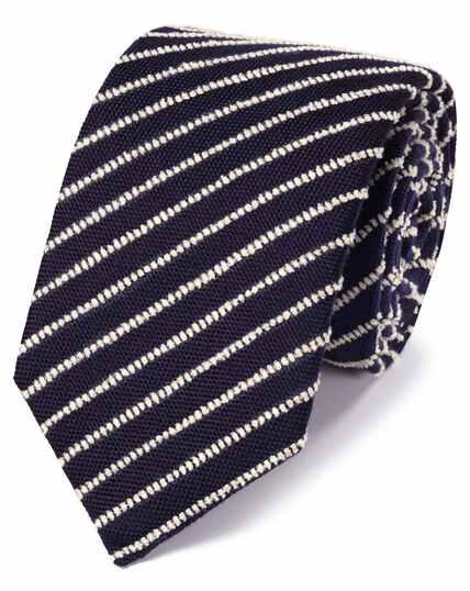 Navy and white wool stripe luxury tie