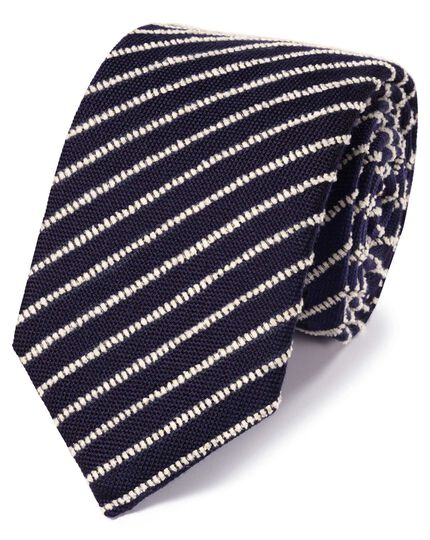Navy and white wool stripe luxury tie