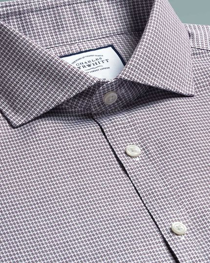 Spread Non-Iron Cotton Stretch Oxford Shirt - Berry