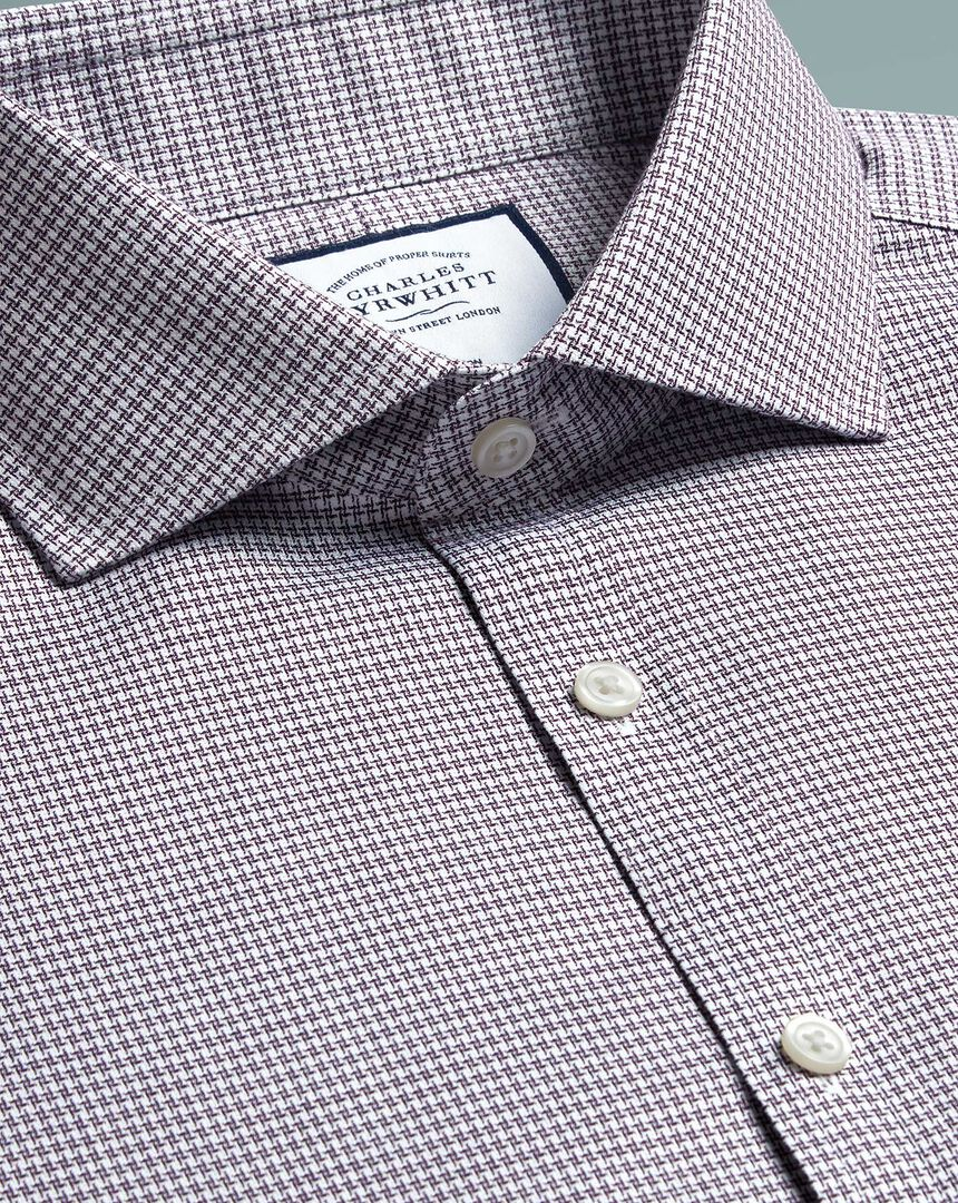 Spread Non-Iron Cotton Stretch Oxford Shirt - Berry