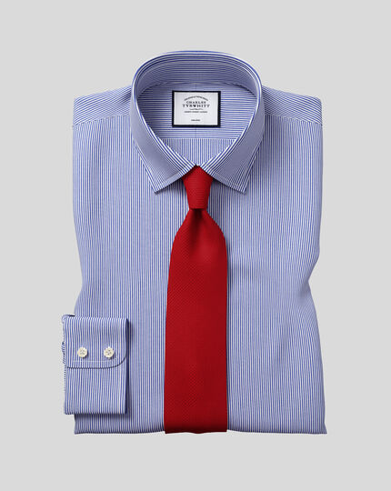 Chemise à rayures Bengale et col classique sans repassage - Bleu marine