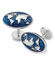 Navy world map cufflinks