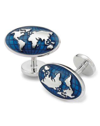 Manschettenknöpfe mit Weltkarte in Marineblau